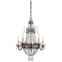 Signature 5 Light 20 inch Deep Lathan Bronze Mini Chandelier Ceiling Light