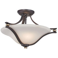 Shadowglen 2 Light 18 inch Lathan Bronze with Gold Semi-Flush Mount Ceiling Light