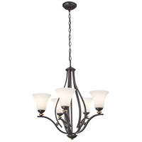 Shadowglen 5 Light 26 inch Lathan Bronze/Gold Chandelier Ceiling Light