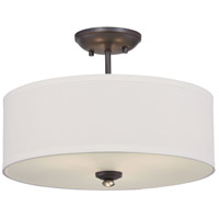 Shadowglen 3 Light 16 inch Lathan Bronze with Gold Semi-Flush Mount Ceiling Light
