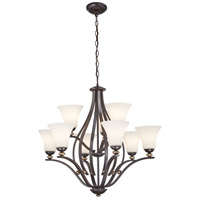 Minka-Lavery 3289-589 Shadowglen 9 Light 31 inch Lathan Bronze with Gold Chandelier Ceiling Light