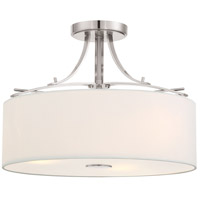 Poleis 3 Light 17 inch Brushed Nickel Semi Flush Mount Ceiling Light
