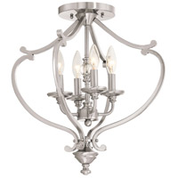 Savannah Row 4 Light 18 inch Brushed Nickel Semi-Flush Mount Ceiling Light, Convertible