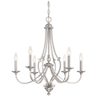 Savannah Row 6 Light 26 inch Brushed Nickel Chandelier Ceiling Light