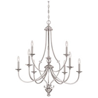 Savannah Row 9 Light 34 inch Brushed Nickel Chandelier Ceiling Light