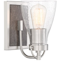 Minka-Lavery 3341-098 Garrison 1 Light 5 inch Brushed Nickel/Shale Wood Bath Light Wall Light