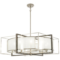 Tysons Gate 10 Light 30 inch Brushed Nickel with Shale Wood Pendant Ceiling Light