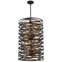 Vortic Flow 8 Light 18 inch Dark Bronze with Mosaic Gold Pendant Ceiling Light
