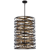 Vortic Flow 10 Light 21 inch Dark Bronze with Mosaic Gold Pendant Ceiling Light