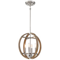 Minka-Lavery 4012-280 Country Estates 4 Light 17 inch Sun Faded Wood with Brushed Nickel Pendant Ceiling Light