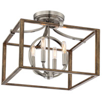 Minka-Lavery 4013-280 Country Estates 4 Light 17 inch Sun Faded Wood with Brushed Nickel Semi-Flush Mount Ceiling Light
