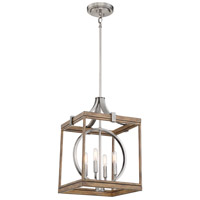 Minka-Lavery 4014-280 Country Estates 4 Light 15 inch Sun Faded Wood with Brushed Nickel Pendant Ceiling Light