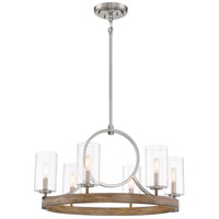 Minka-Lavery 4015-280 Country Estates 6 Light 28 inch Sun Faded Wood with Brushed Nickel Chandelier Ceiling Light