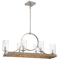 Minka-Lavery 4016-280 Country Estates 6 Light 39 inch Sun Faded Wood with Brushed Nickel Island Light Ceiling Light