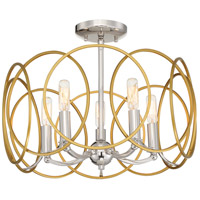 Minka-Lavery 4025-679 Chassell 5 Light 18 inch Painted Honey Gold with Polished Nickel Flush Mount Ceiling Light Convertible to Pendant