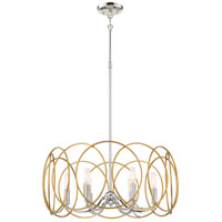 Minka-Lavery 4026-679 Chassell 6 Light 25 inch Painted Honey Gold with Polished Nickel Pendant Ceiling Light