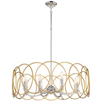 Minka-Lavery 4028-679 Chassell 8 Light 32 inch Painted Honey Gold with Polished Nickel Chandelier Ceiling Light