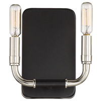 Liege 2 Light 7 inch Matte Black with Polished Nickel Wall Sconce Wall Light