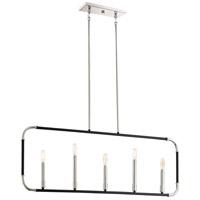 Minka-Lavery 4065-572 Liege 5 Light 42 inch Matte Black with Polished Nickel Island Light Ceiling Light