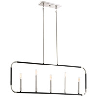 Liege 5 Light 42 inch Matte Black with Polished Nickel Highlights Island Light Ceiling Light