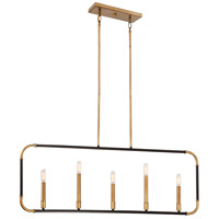 Liege 5 Light 42 inch Aged Kingston Bronze with Brushed Brass Highlights Island Light Ceiling Light