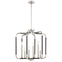 Minka-Lavery 4066-572 Liege 6 Light 25 inch Matte Black with Polished Nickel Pendant Ceiling Light