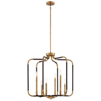 Liege 6 Light 25 inch Aged Kingston Bronze with Brushed Brass Highlights Chandelier Ceiling Light