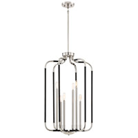 Liege 6 Light 19 inch Matte Black with Polished Nickel Highlights Pendant Ceiling Light
