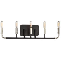Liege 5 Light 24 inch Matte Black with Polished Nickel Bath-Bar Lite Wall Light