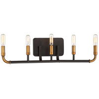 Minka-Lavery 4068-660 Liege 5 Light 27 inch Aged Kinston Bronze with Brass Bath Light Wall Light in Aged Kingston Bronze