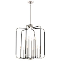 Liege 12 Light 28 inch Matte Black with Polished Nickel Highlights Chandelier Ceiling Light
