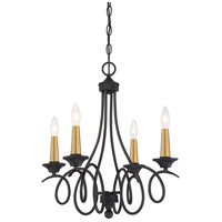 Minka-Lavery 4073-676 La Courbe 4 Light 20 inch Black with Antique Brass Chandelier Ceiling Light