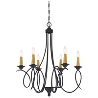 Minka-Lavery 4076-676 La Courbe 6 Light 28 inch Black with Antique Brass Chandelier Ceiling Light