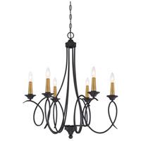 Minka-Lavery 4076-676 La Courbe 6 Light 28 inch Coal/Antique Brass Chandelier Ceiling Light