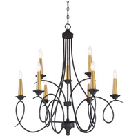 Minka-Lavery 4079-676 La Courbe 9 Light 35 inch Black with Antique Brass Chandelier Ceiling Light
