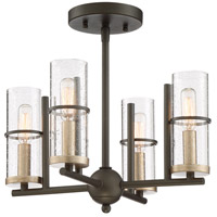 Minka-Lavery 4085-107 Sussex Court 4 Light 15 inch Smoked Iron/Aged Gold Semi-Flush Mount Ceiling Light
