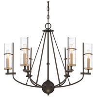 Minka-Lavery 4087-107 Sussex Court 6 Light 28 inch Smoked Iron with Aged Gold Chandelier Ceiling Light
