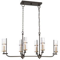 Minka-Lavery 4088-107 Sussex Court 6 Light 38 inch Smoked Iron with Aged Gold Island Light Ceiling Light