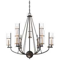 Minka-Lavery 4089-107 Sussex Court 9 Light 31 inch Smoked Iron with Aged Gold Chandelier Ceiling Light