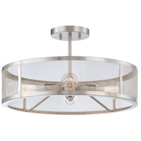 Downtown Edison 4 Light 19 inch Brushed Nickel Semi Flush Mount Ceiling Light