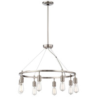 Downtown Edison 8 Light 27 inch Brushed Nickel Chandelier Ceiling Light