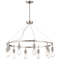 Downtown Edison 10 Light 32 inch Brushed Nickel Chandelier Ceiling Light