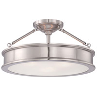 Harbour Point 3 Light 19 inch Brushed Nickel Semi Flush Mount Ceiling Light