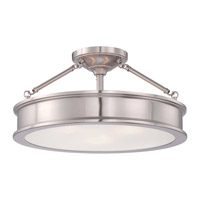 Harbour Point 3 Light 19 inch Brushed Nickel Semi-Flush Ceiling Light
