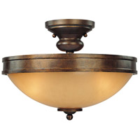 Atterbury 3 Light 15 inch Deep Flax Bronze Semi Flush Mount Ceiling Light