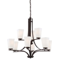 Minka-Lavery Zacara 9 Light Chandelier in Artistic Bronze 4329-577