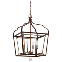 Minka-Lavery 4344-593 Astrapia 4 Light 18 inch Dark Rubbed Sienna/Aged Silver Foyer Pendant Ceiling Light