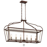 Astrapia 6 Light 36 inch Dark Rubbed Sienna/Aged Silver Island Light Ceiling Light