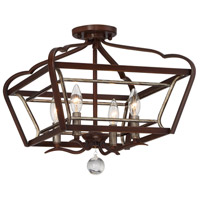 Minka-Lavery 4347-593 Astrapia 4 Light 16 inch Dark Rubbed Sienna/Aged Silver Semi-Flush Mount Ceiling Light