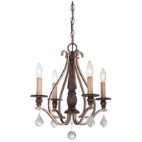 Gwendolyn Place 4 Light 18 inch Dark Rubbed Sienna/Aged Silver Mini Chandelier Ceiling Light